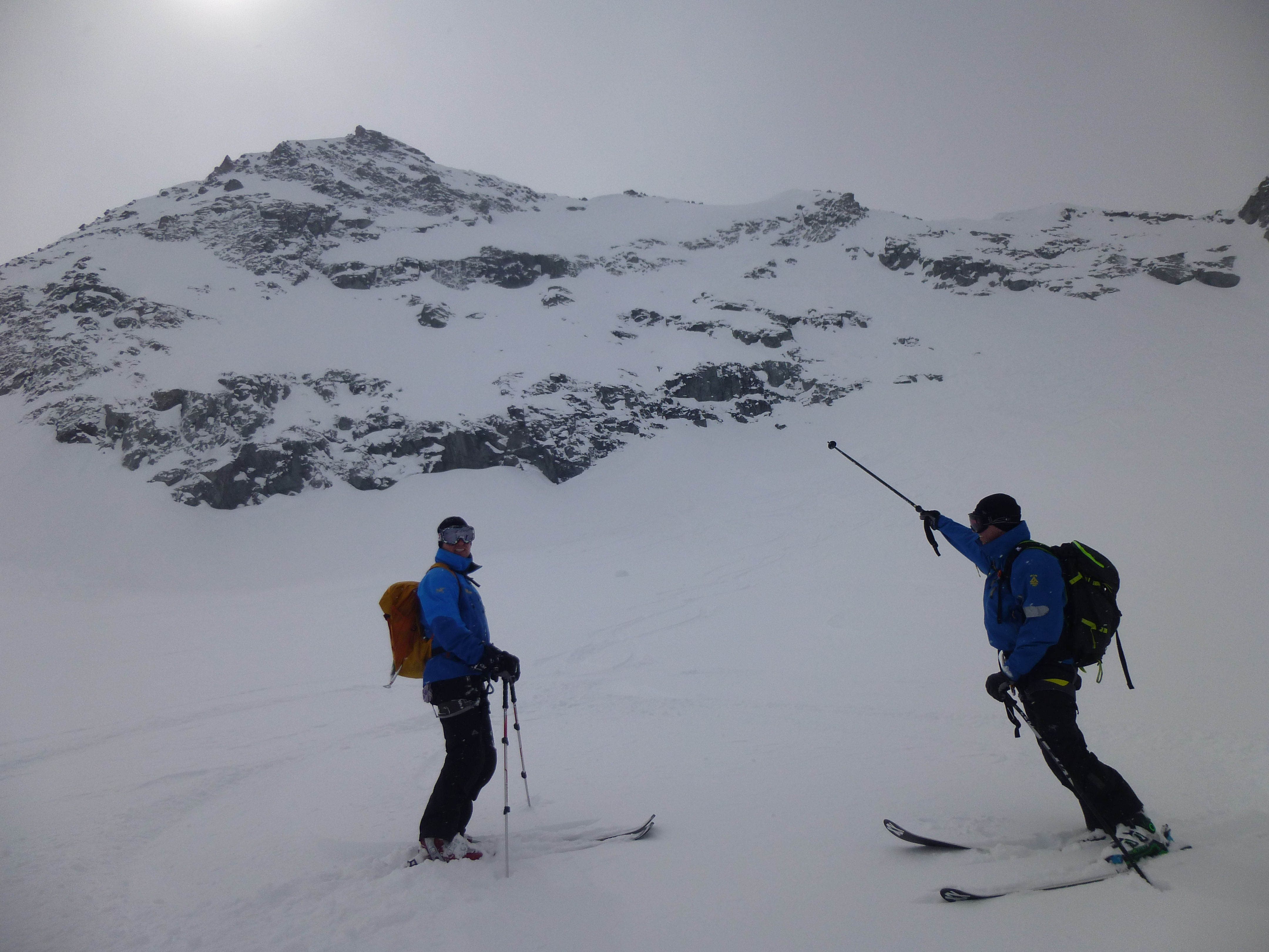 Off-piste day in Verbier, below the face we just skied in great snow.