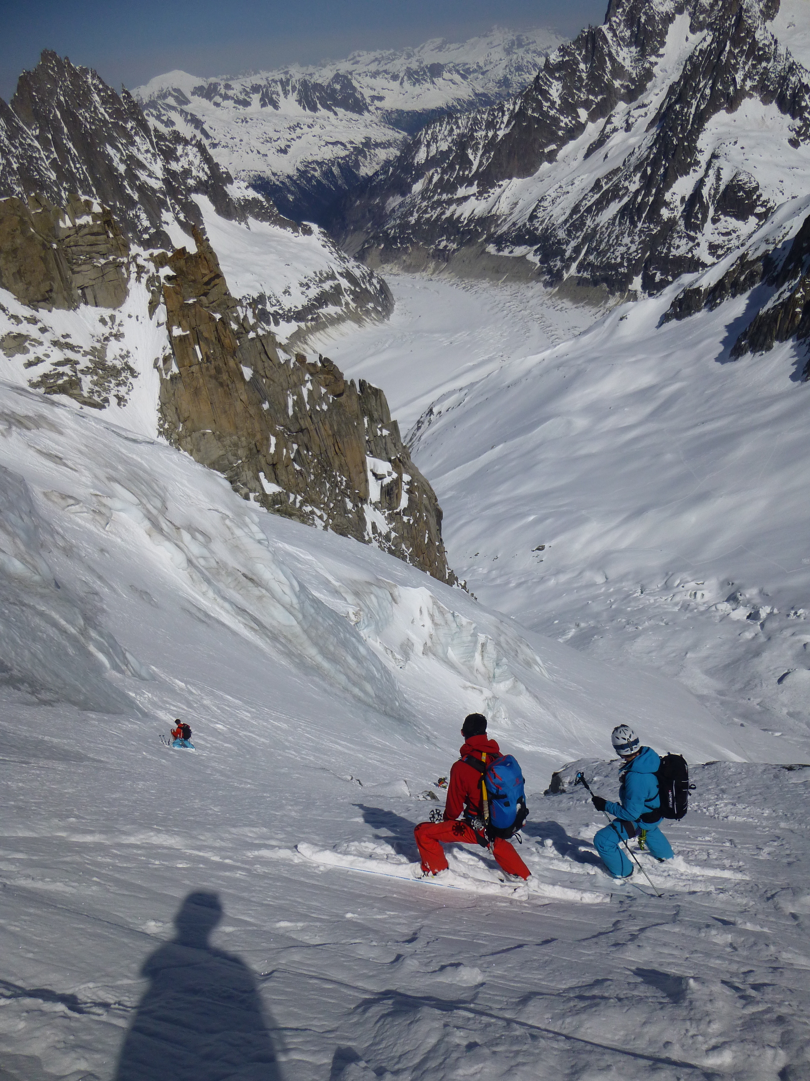 skiing the Glacier de la Noire with the Glacier de Periades and Mer de Glace below.