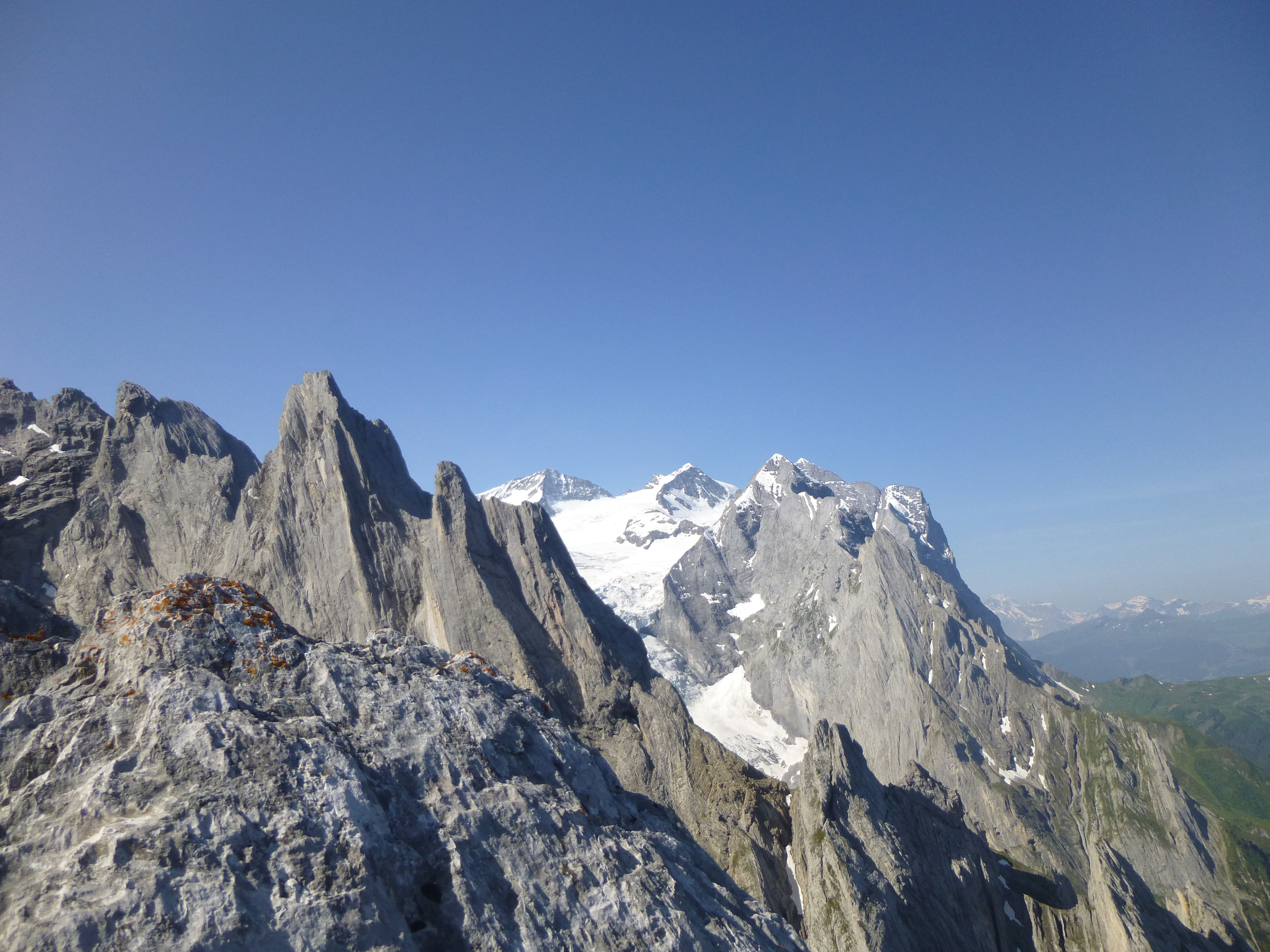 Looking west into the Oberland from the Engelhorner. The horizon from left to right: Froschkopf, Kingspitze, Kastor, Rosenhorn, Mittelhorn, Wellhorn and Wetterhorn with the huge face of the Scheideggwetterhorn to the right.