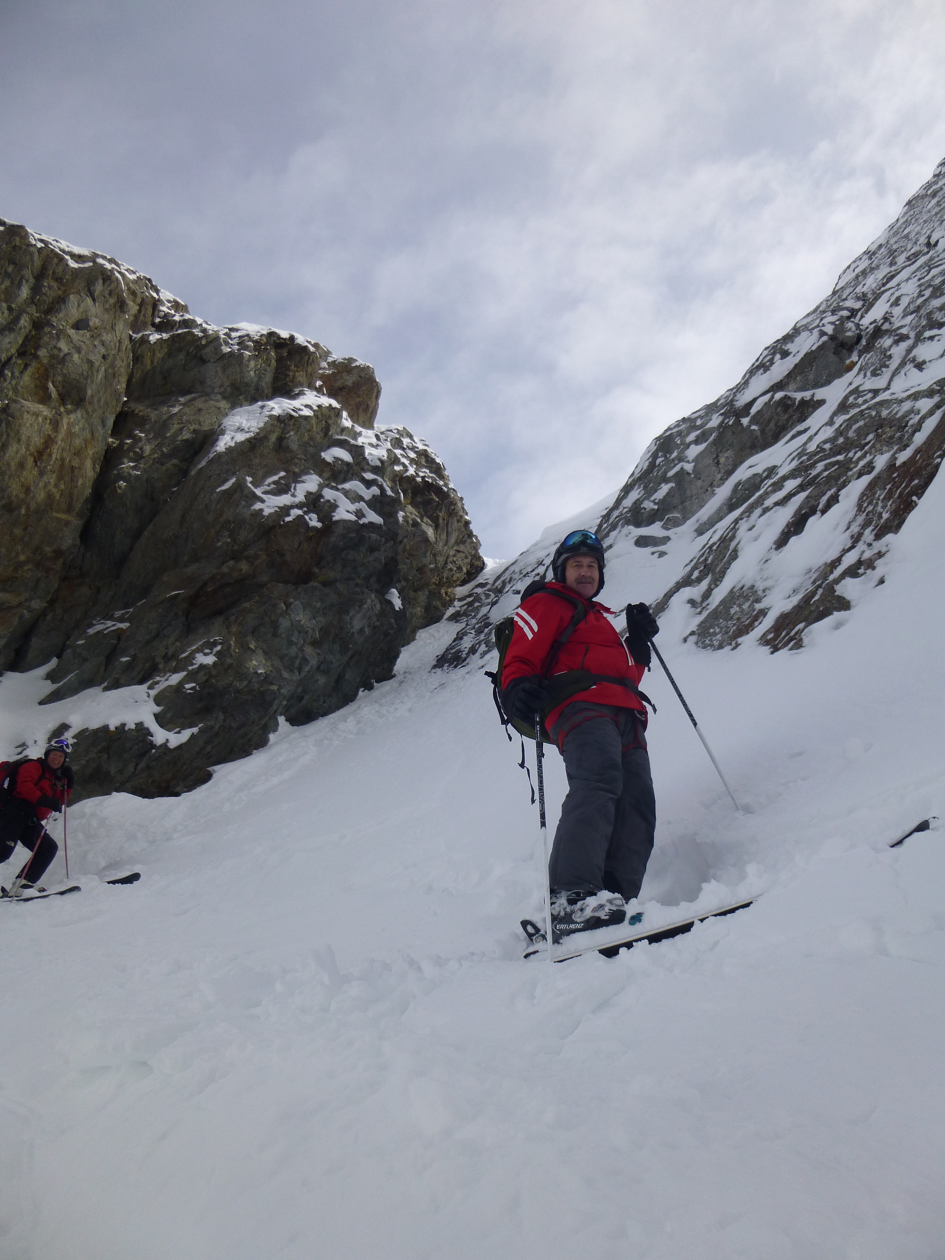 In the couloir, ready to ski!