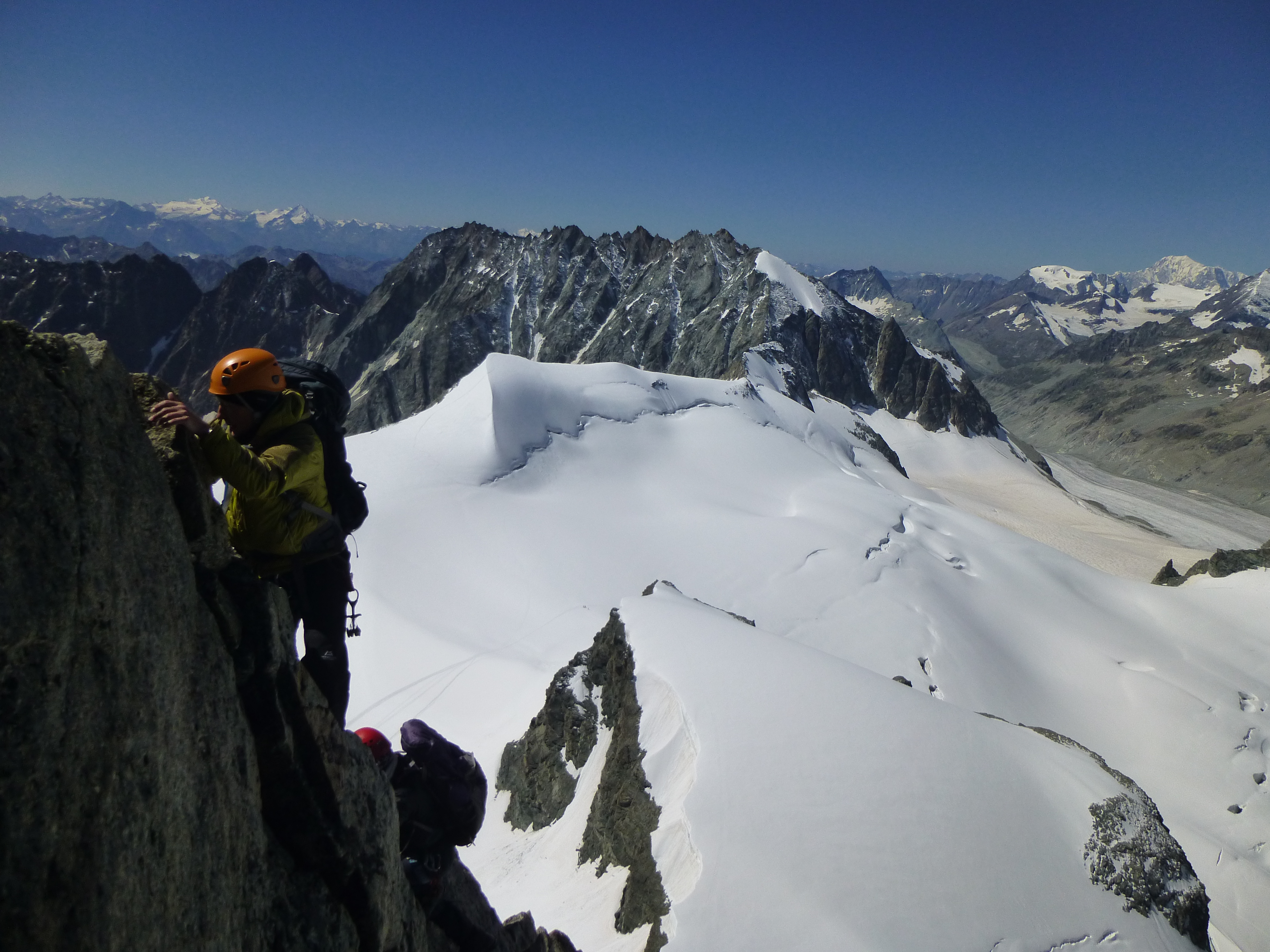 climbing l'Eveque with the ridge of La Singla behind and Mont Blanc far away to the right
