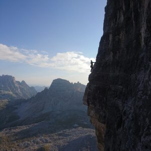 mountain guide climbing dolomites